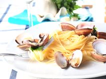 Italian noodle pasta with mussels Royalty Free Stock Photo