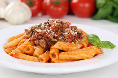 Italian noodles pasta Bolognese sauce meal Royalty Free Stock Photo