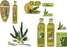 Italian oil and olive product stickers.  vector illustration