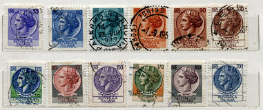 Italian old Stamps Royalty Free Stock Images