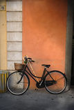 Italian old-style bicycle. Leaning against a wall Royalty Free Stock Photo