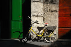 Italian old-style bicycle. Leaning against a wall Stock Photo