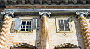 Italian old villa with a detailed Greek style columns Stock Photography