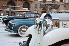 Italian oldtimers. Car oldtimer show Florence,Italy. legendary italian brands where all in one square in the heart of Florence,Tuscany,Italy Royalty Free Stock Photo