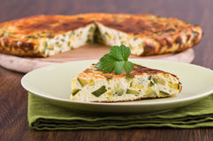 Italian omelette with zucchini. Royalty Free Stock Photos