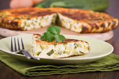 Italian omelette with zucchini. Royalty Free Stock Images