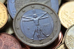 Italian one euro coin Stock Images