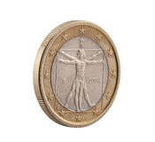 Italian One Euro with Vitruvian Man. Leonardo Da Vinci. Clipping path included royalty free stock image