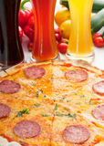 Italian original thin crust  pepperoni pizza Stock Photography