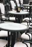 Italian outdoor cafe - the tables stock photo