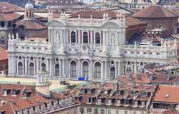 Italian Palazzo Carignano in Turin, Aosta Valley. View at the rear facade of the Palazzo Carignano in Turin from the Mole Antonelliana. The 19th century rear stock image