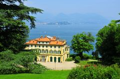 Italian Palazzo with view over  Lake Maggiore Royalty Free Stock Image
