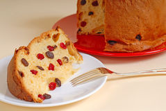 Italian Panettone Christmas bread with tan background Stock Photography
