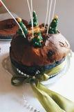 Italian panettone christmas sweets. Italian cake panettone Stock Image