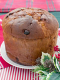 Italian panettone decorated for christmas Stock Image