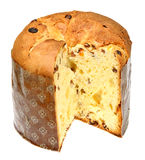Italian panettone in front. Of a white background Stock Photography