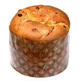 Italian panettone in front. Of a white background Royalty Free Stock Photos