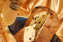 Italian panettone and spumante stock photos