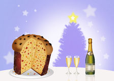 Italian panettone and wine and glasses Stock Photos