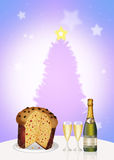 Italian panettone and wine and glasses Stock Photography