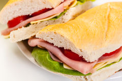 Italian panini sandwich with ham Royalty Free Stock Photography