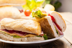 Italian panini sandwich with ham Royalty Free Stock Images