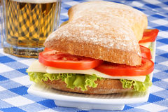 Italian panino sandwich and beer Stock Photo