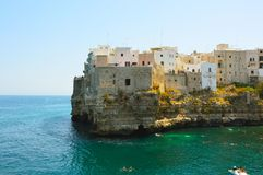 Italian panorama: Polignano a mare little town on cliffs on Adriatic sea, Apulia, Southern Italy stock photography