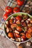 Italian panzanella bread salad close-up. vertical top view Stock Image