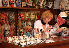 Italian papier mache mask maker Stock Photos
