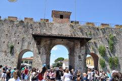 Italian part of the ancient wall, the main gate on a sunny day. Arches and pillars Royalty Free Stock Images
