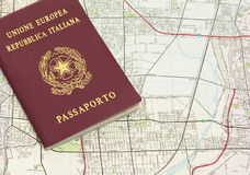 Passport and map. Italian passport on a map Royalty Free Stock Photography