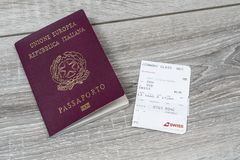 Boarding pass. The Italian passport with the Swiss Airlines boarding pass royalty free stock photo