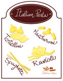 Italian Pasta. Vector illustration depicting a poster designed with various specialties of Italian cuisine Royalty Free Stock Photography