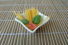 Italian pasta. Spaghetti bowl of white ceramic Royalty Free Stock Images