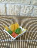 Italian pasta. Spaghetti bowl of white ceramic Royalty Free Stock Photos