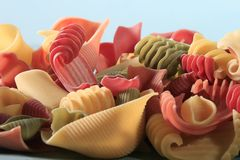 Italian pasta. Colorful curles of Italian pasta Royalty Free Stock Image