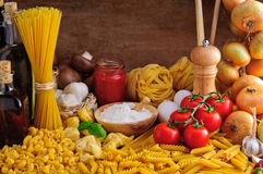 Italian pasta. Still life with traditional italian pasta and ingredients Stock Photo