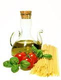 Italian pasta. Basic ingredients for a simple italian pasta on a white background Stock Image