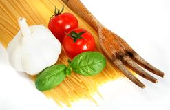 Italian pasta. Basic ingredients for a simple italian pasta on a white background Stock Photo