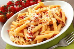 Italian pasta. A dish of italian pasta with parmesan cheese Royalty Free Stock Image