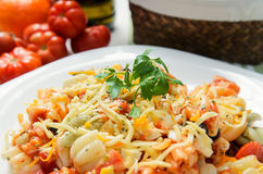 Italian pasta. With cheese, bolognese sauce, tomatoes and oregano Stock Image