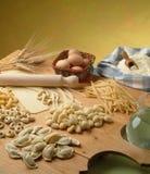 Italian pasta. Different types of freshly made Italian pasta royalty free stock photography