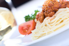 Italian pasta. With bolognese sauce Royalty Free Stock Photography