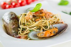Italian pasta aglio olio with sea fruit Royalty Free Stock Photography