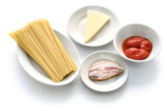 Italian pasta amatriciana ingredients Royalty Free Stock Photography