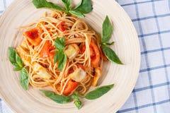 Italian pasta with artichoke Royalty Free Stock Photos