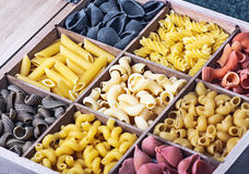 Italian pasta assortment of different Royalty Free Stock Photo