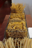 Italian Pasta Assortment inside Glass Squared Bowls Stock Images