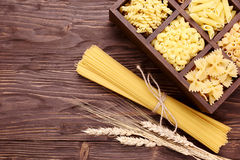 Italian pasta in assortment several different varieties separate Royalty Free Stock Image